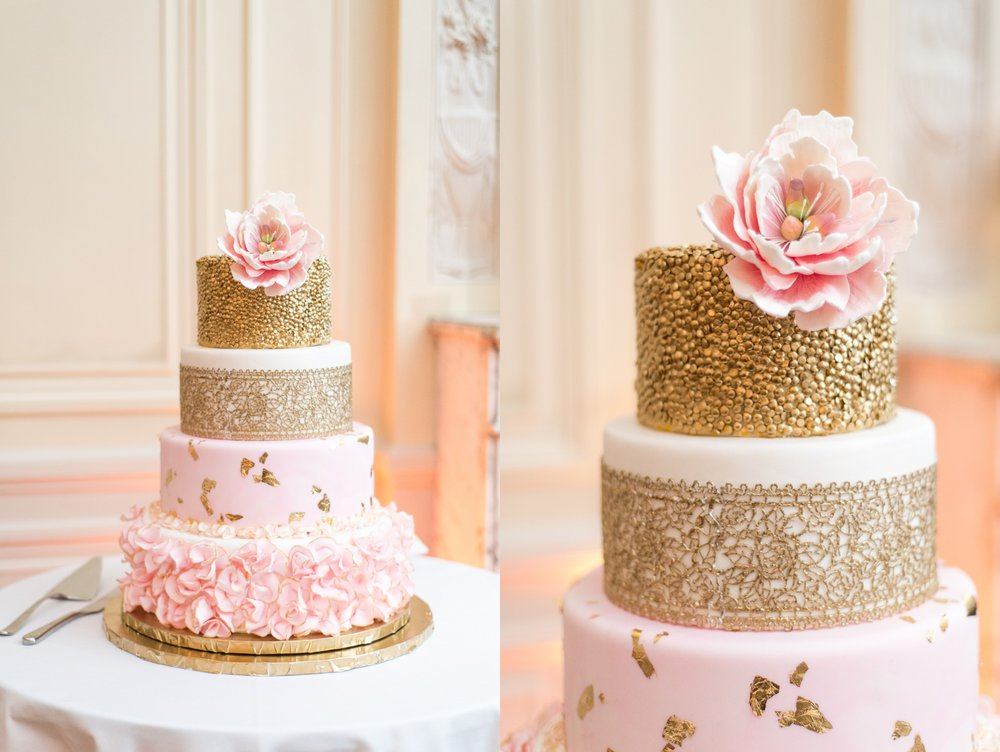 blush pink and gold textured multi-tiered wedding cake with sugar flowers at glen manor house wedding by baker amethyst scolnick