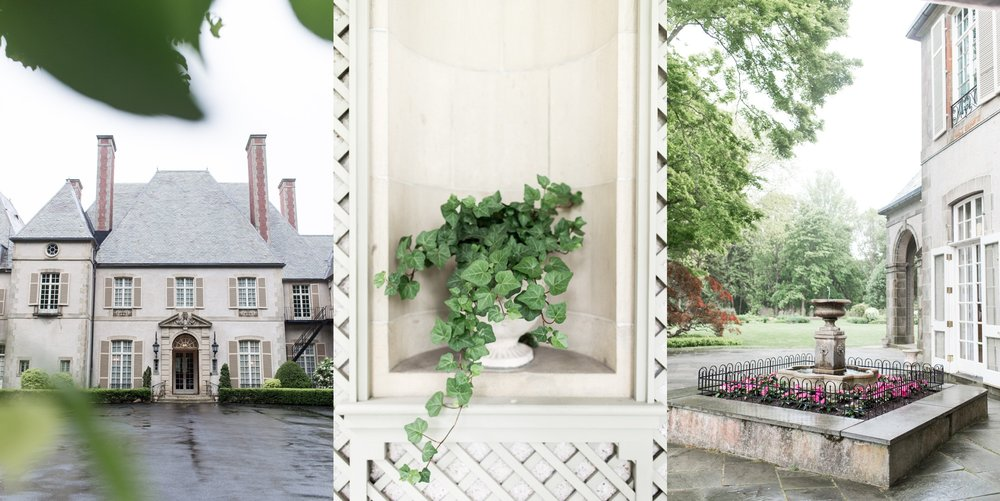 details of the house and grounds at glen manor house wedding rainy spring