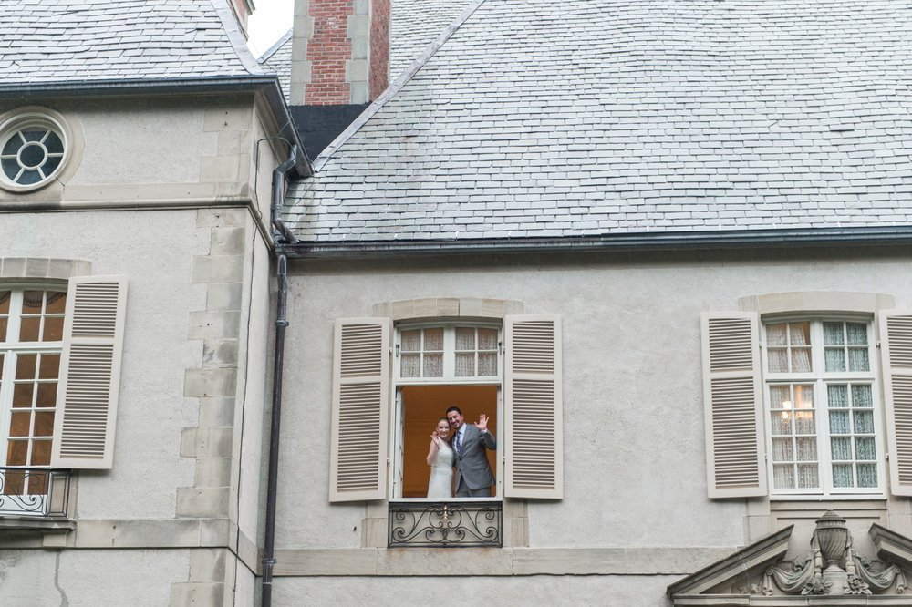 glen manor house wedding couples portraits of bride and groom in front of mansion