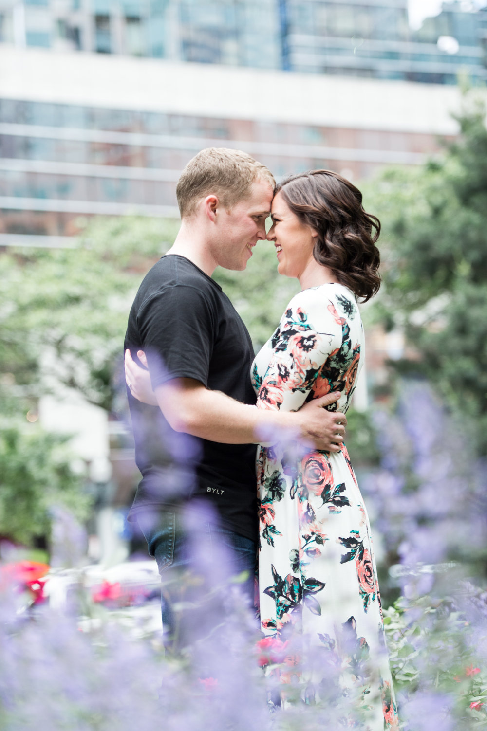 boston engagement session rose kennedy greenway flowers floral dress