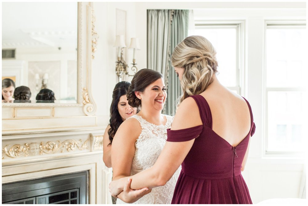 bride getting ready at Lenox Hotel Boston wedding