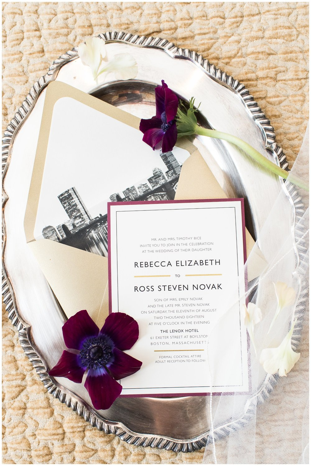 Lenox Hotel Wedding invitation suite custom by Happy Frog Invitations on a vintage tray with flowers table and tulip