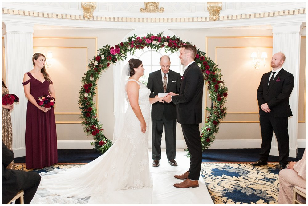 Lenox Hotel Boston Wedding ceremony in Dome Room with floral arch by Table and Tulip