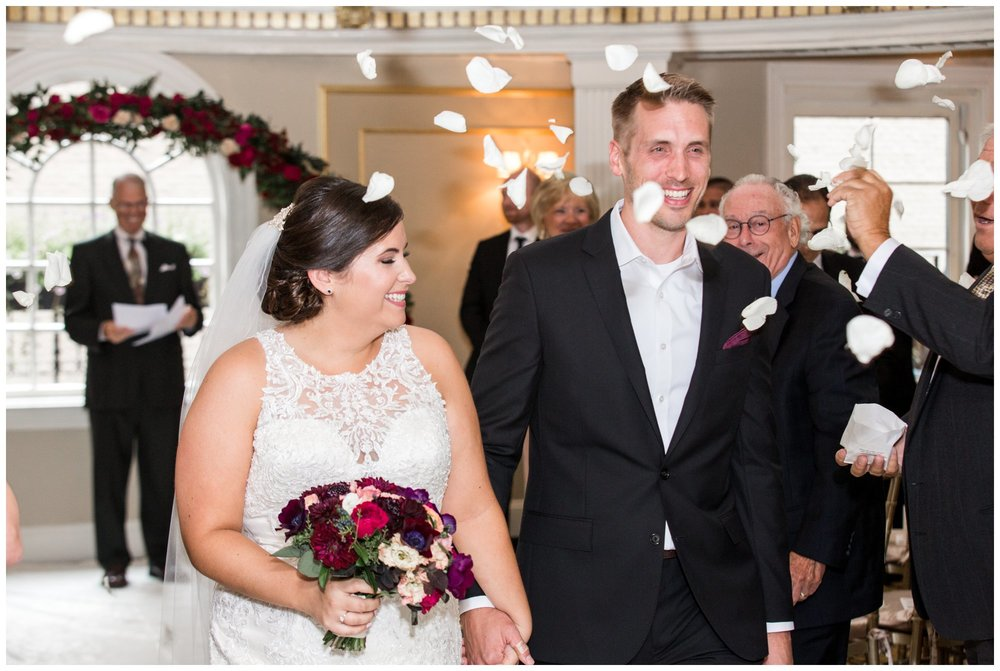 Lenox Hotel Boston Wedding ceremony in Dome Room with flower petal toss
