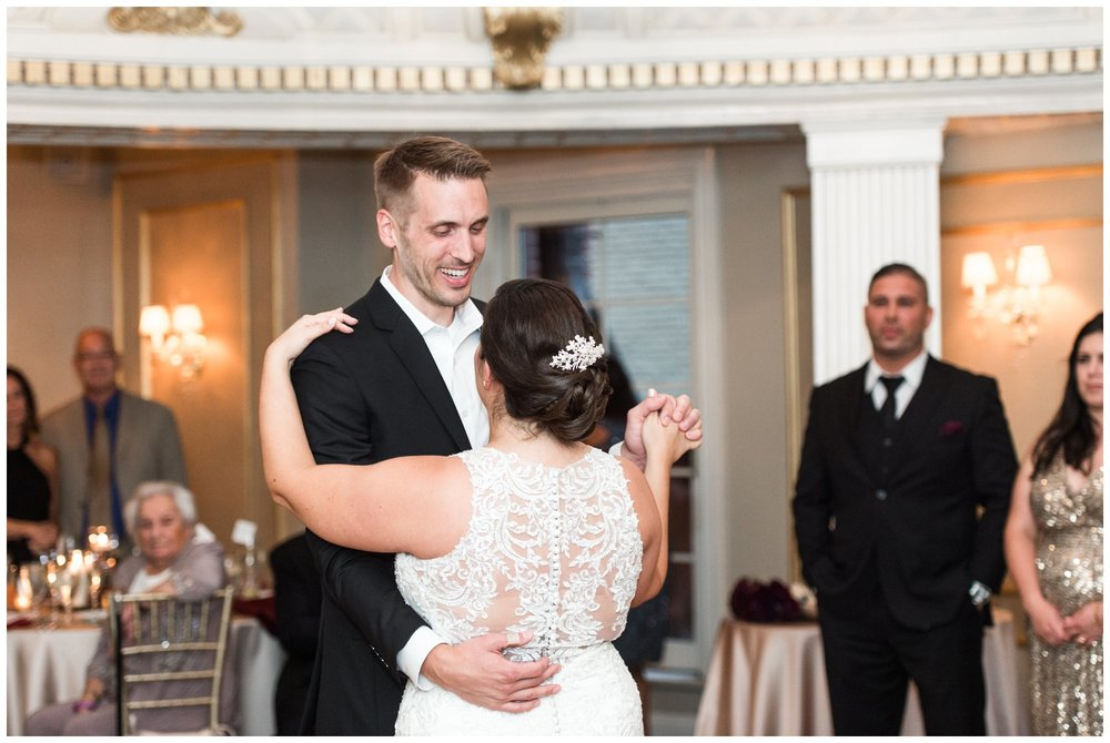 Lenox Hotel Dome Room wedding first dance by bride and groom Boston