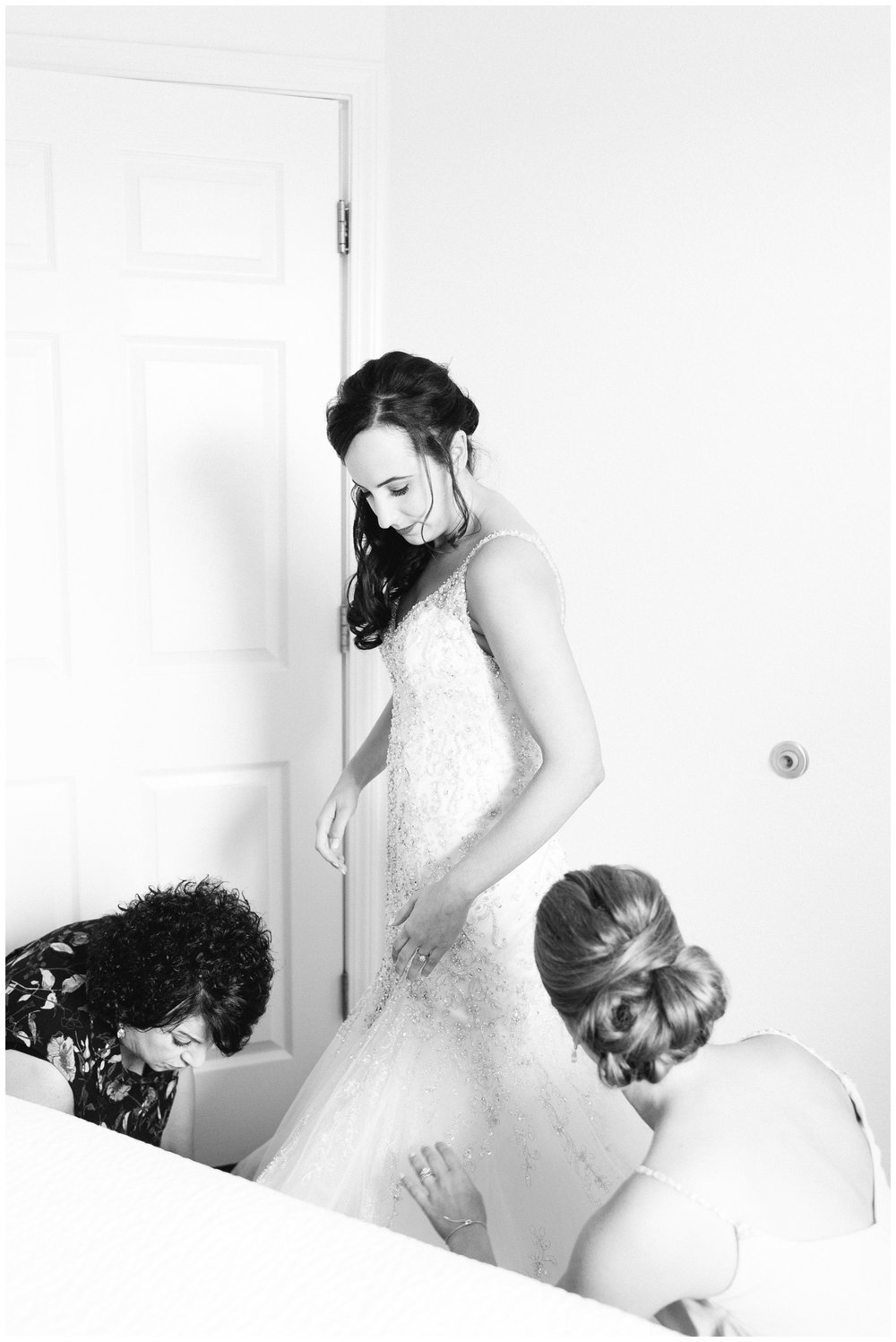 bride getting ready for summer wedding at the villa