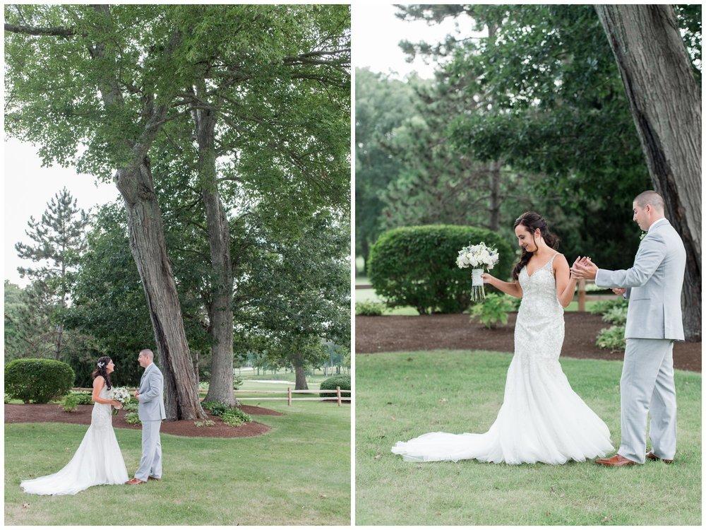 summer wedding at the villa first look between bride and groom