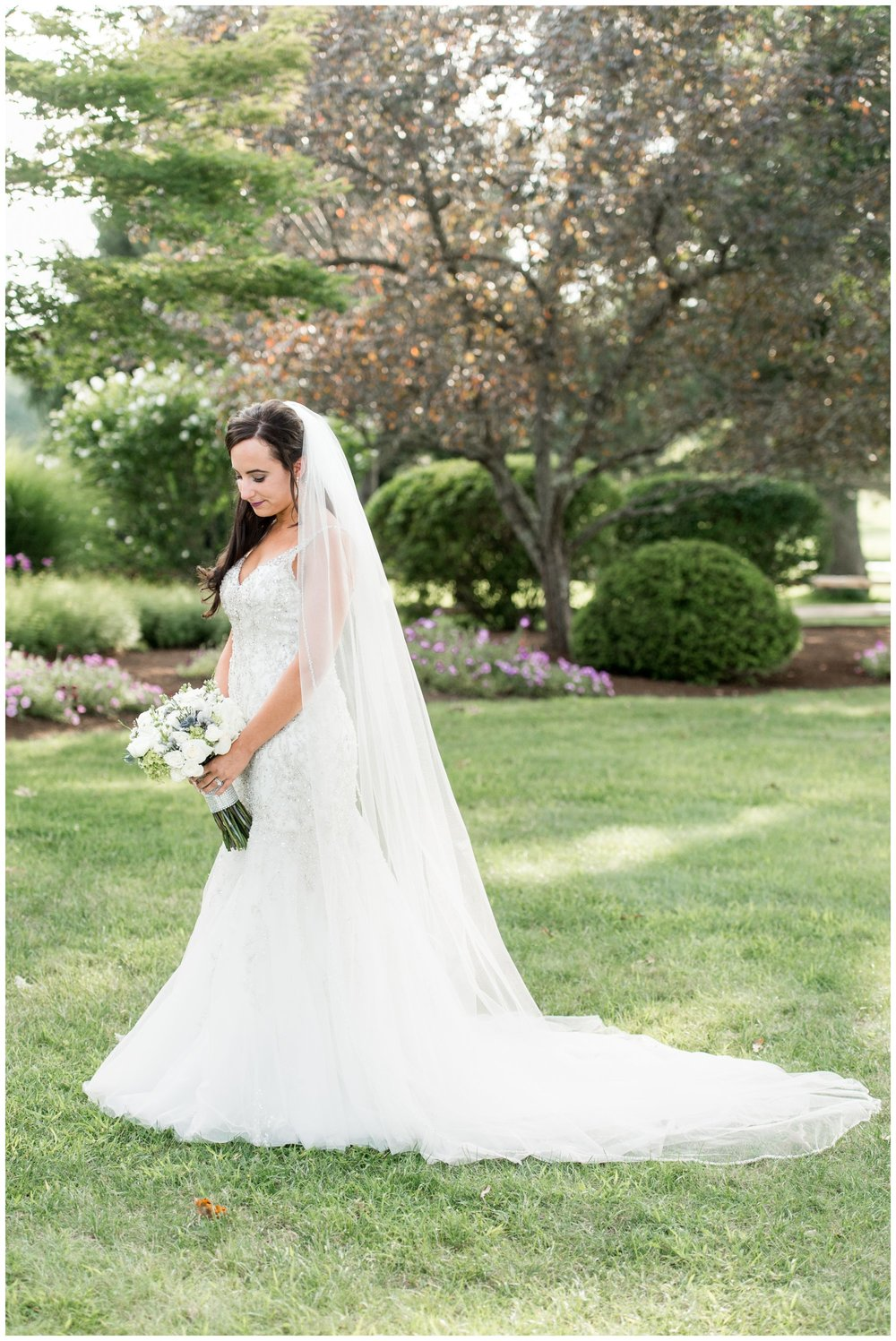 mori lee gown and veil bridal portrait The Villa Summer wedding
