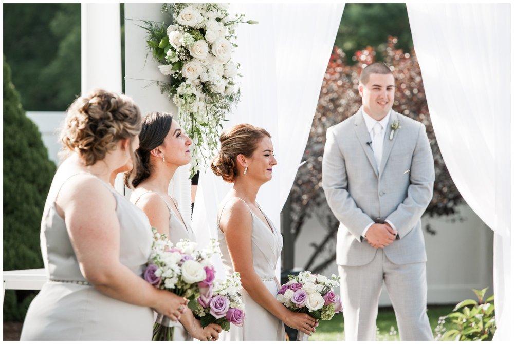 emotional bridesmaids at The Villa Summer Wedding Ceremony