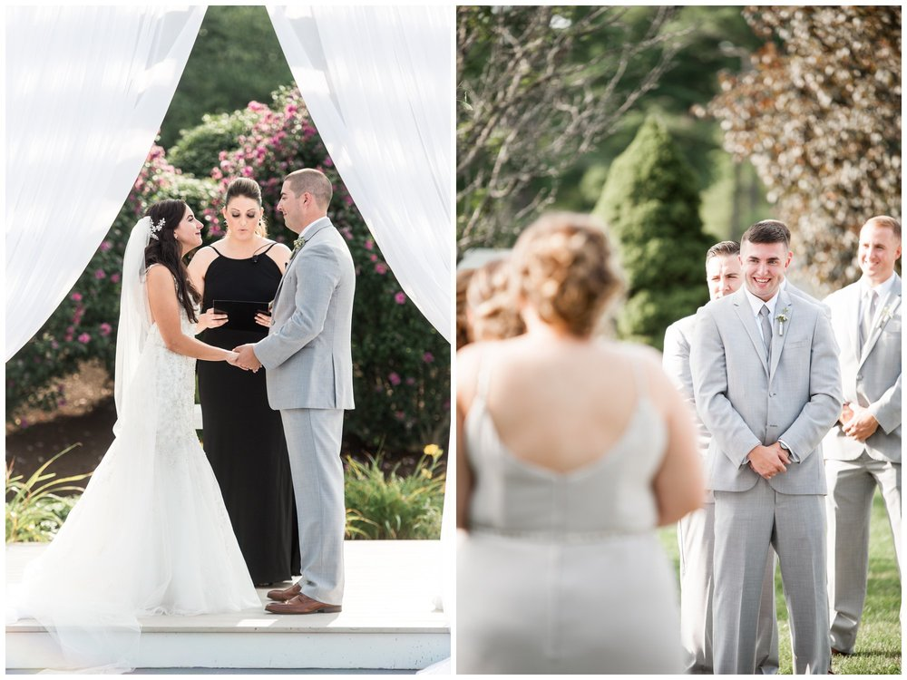 bride and groom exchange vows at sunlit ceremony at The Villa at Riddler Country Club