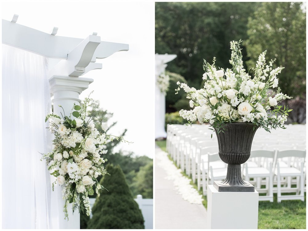 The Villa Summer Wedding Ceremony with gorgeous white florals by Perros Flowers