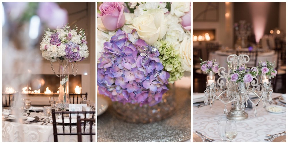 candelabras and linens decorate the grand ballroom at the villa summer wedding
