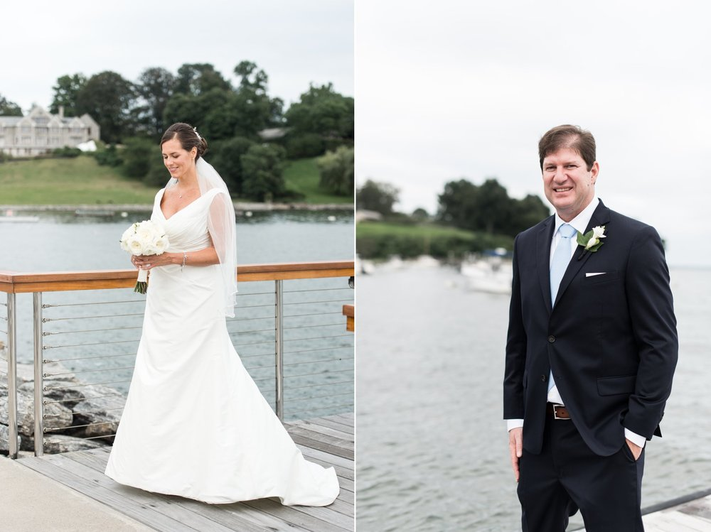 Fall Wedding at Belle Haven Club Bride in wedding dress from Kleinfelds in NYC
