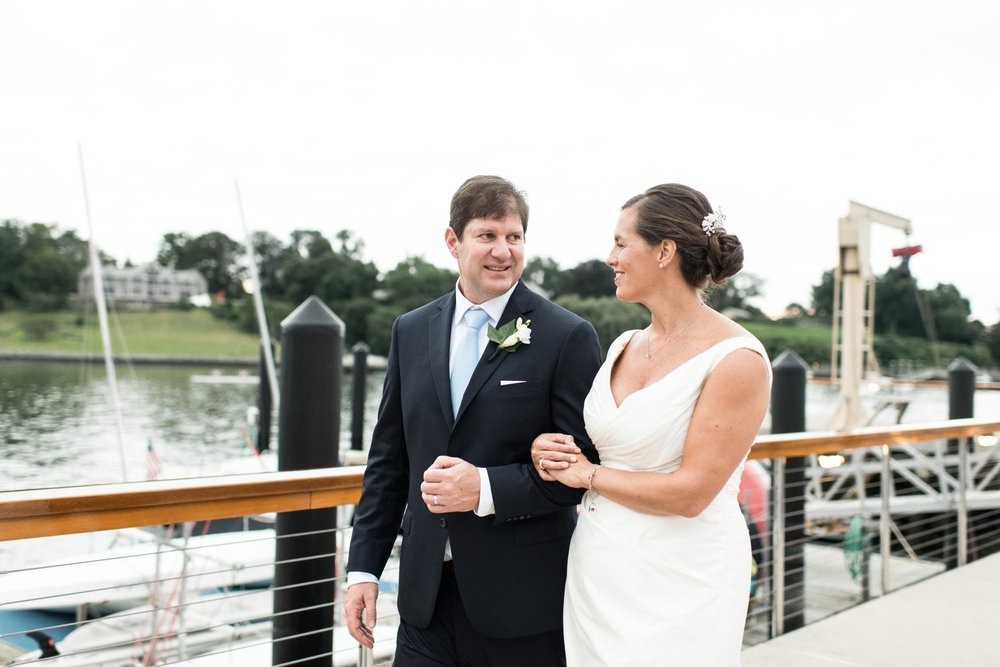 Fall Wedding at Belle Haven Club Bride and Groom First Look on the docks