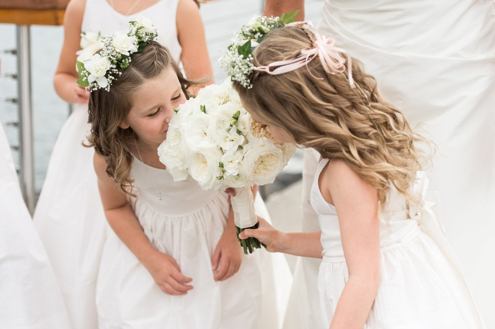 Green of Greenwich wedding bouquet and two sweet flower girls