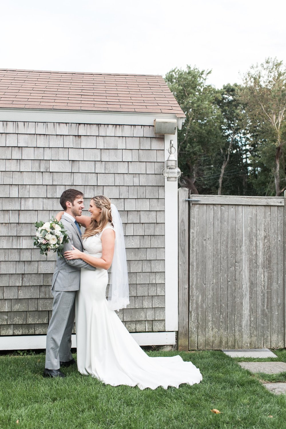 Dennis Inn Cape Cod Wedding portraits of the newlyweds by Lynne Reznick Photography