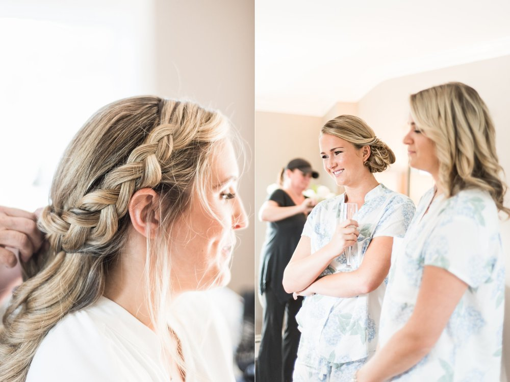 Bride getting ready bridal hairstyle of braid and curls in the Dennis Inn bridal suite for Cape Cod Wedding