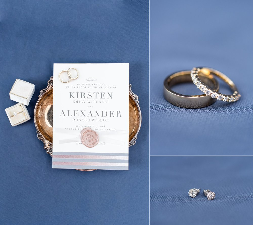 The Dennis Inn Minted Invitations with wax seal rose gold and dusty blue wedding bands and diamond earrings bridal details