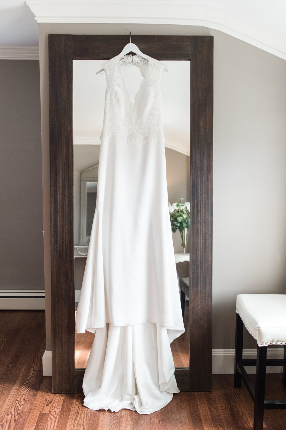 Wedding dress from VOWS in Watertown lace top sheath bridal gown