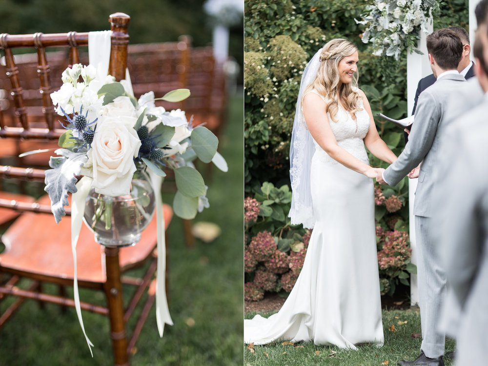 Ceremony floral inspiration and decor by Designers Touch Florals at the Dennis Inn for a Cape Cod Wedding