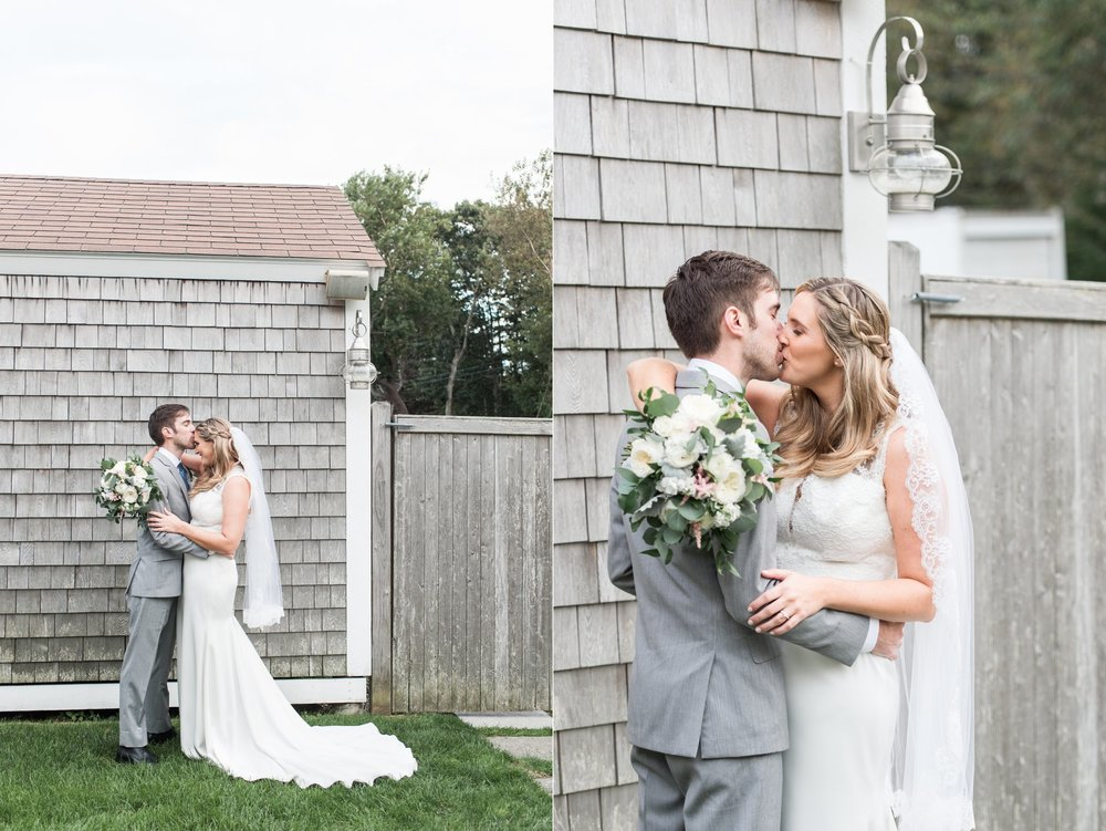 classic cape cod wedding portraits of bride and groom at the dennis inn