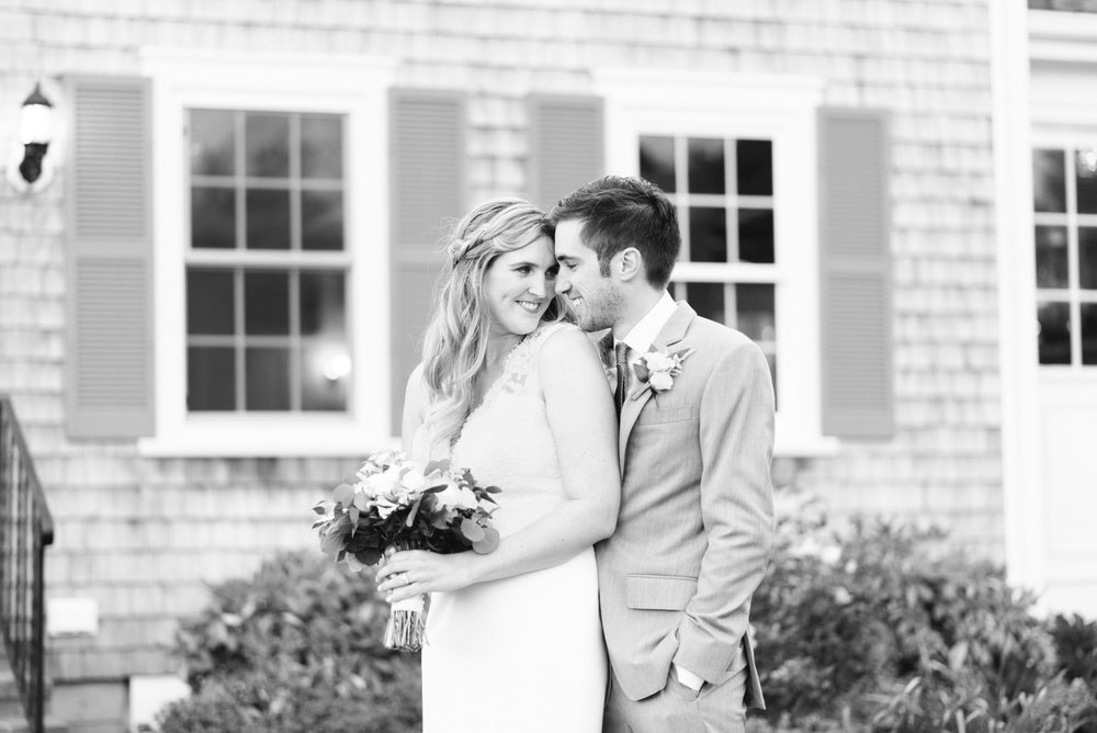 classic black and white cape cod wedding portraits of bride and groom at the dennis inn