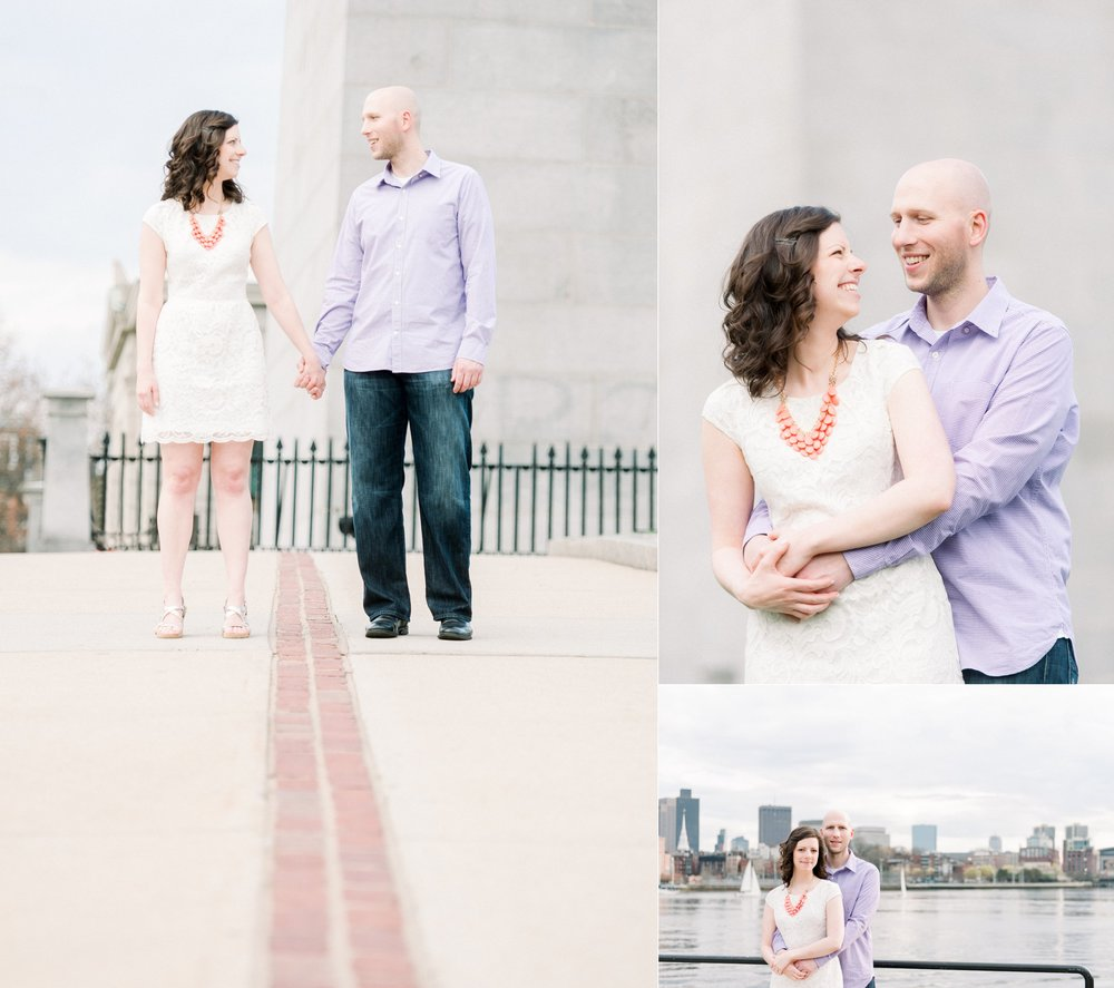 Bunker Hill Mounment and Charlestown Navy Yard Engagement Session Best Boston Engagement Session Location