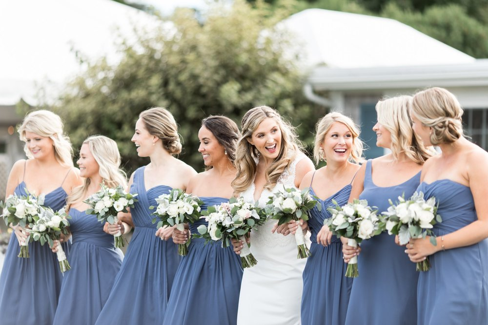 bridesmaids in dusty blue with bride portraits at the Dennis Inn for Cape Cod Wedding