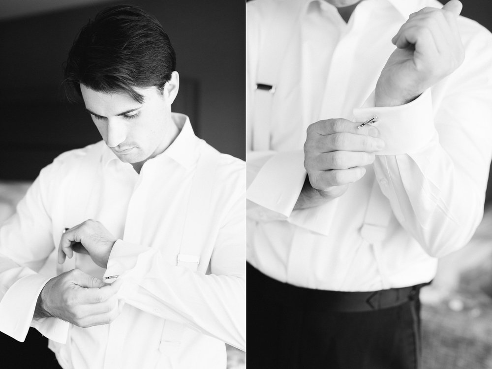 The College of the Holy Cross Wedding Groom getting ready classic black tie wedding black and white