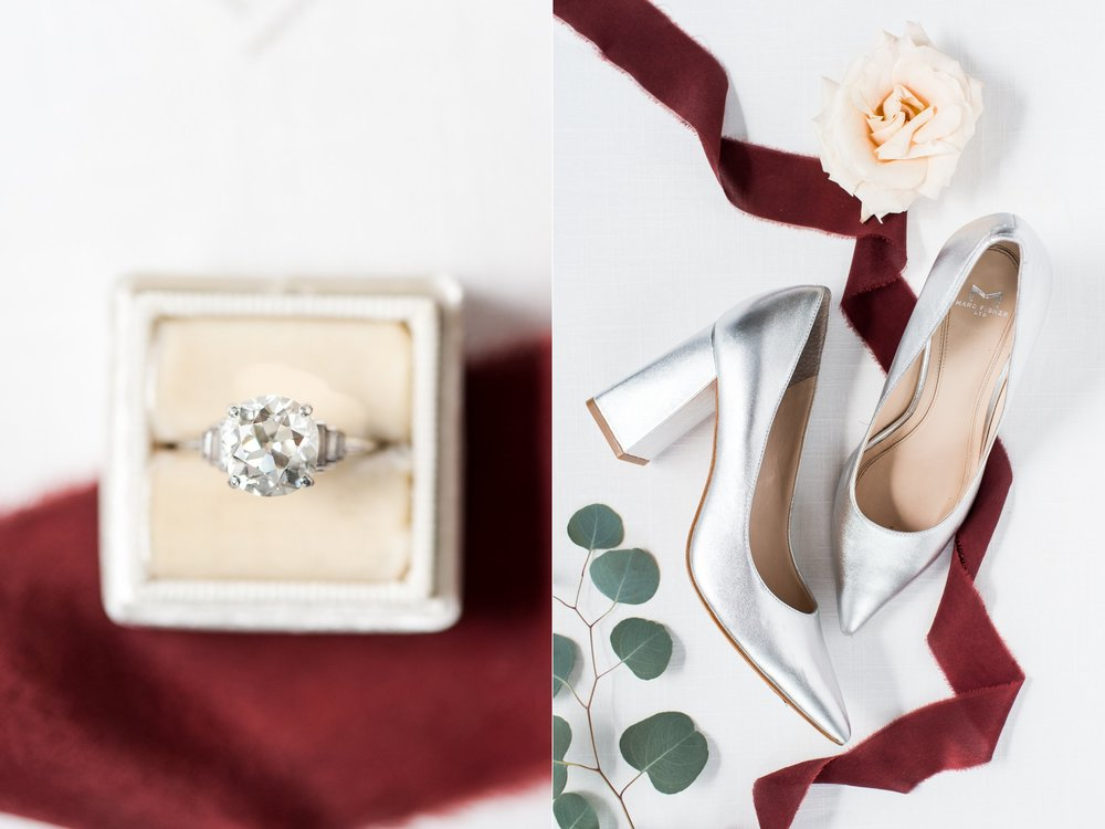 The College of the Holy Cross Wedding bridal details Marc Fisher shoes and solitaire engagement ring mrs ring box cranberry wedding
