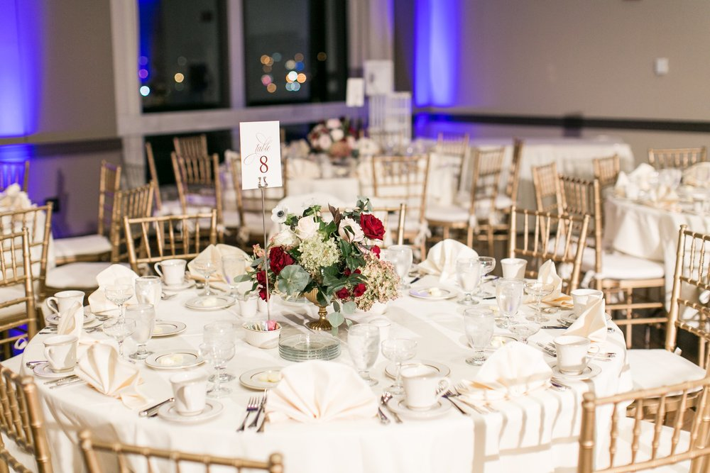 Hogan Campus Center Wedding Reception at The College of the Holy Cross designed by Urban Soiree and florals by The Flowering Vine