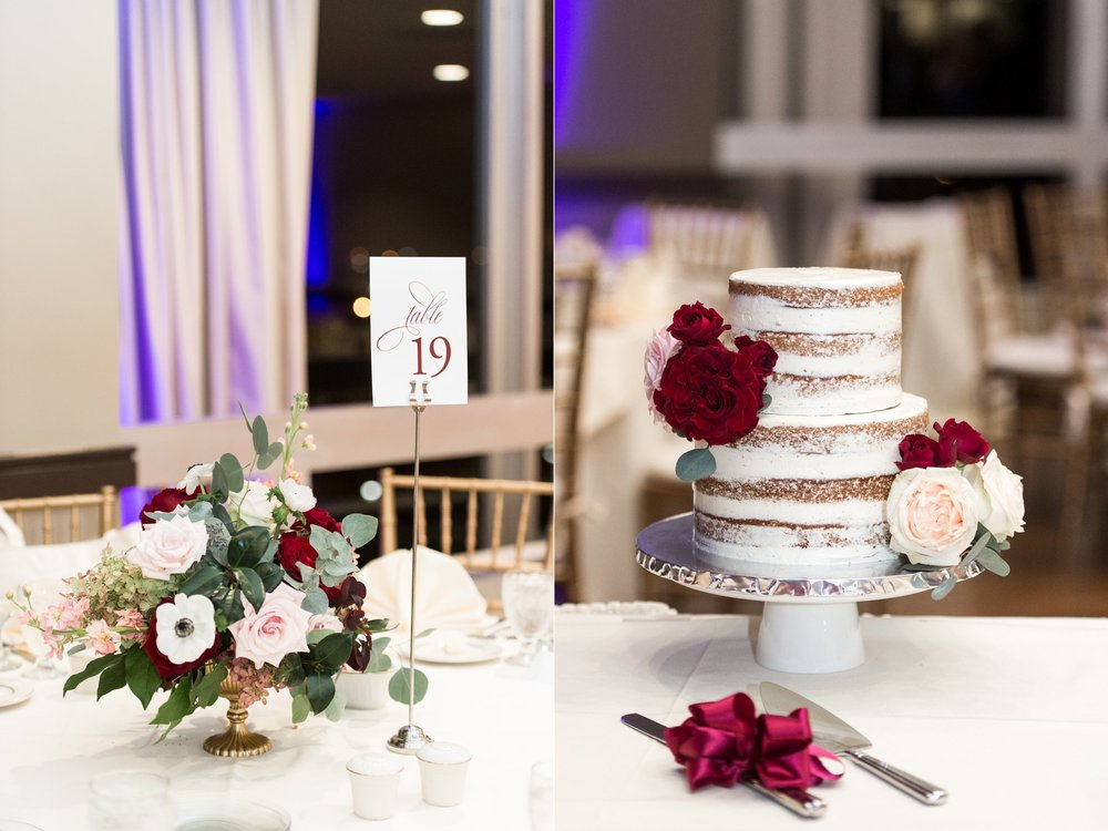 Hogan Campus Center Wedding Reception at The College of the Holy Cross florals by The Flowering Vine wedding cake by cookie creatives