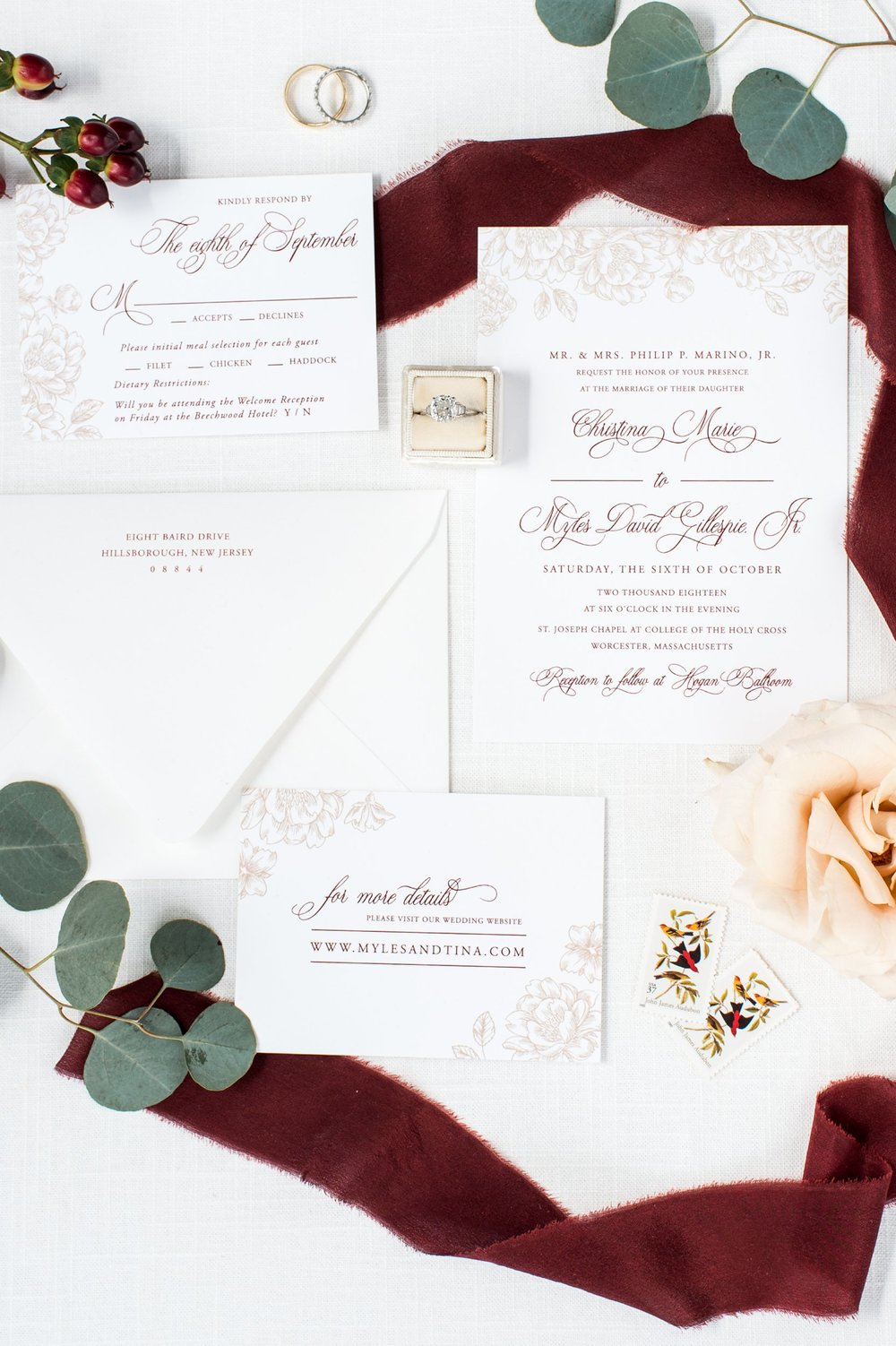 Roseville Designs Stationery The College of the Holy Cross Wedding