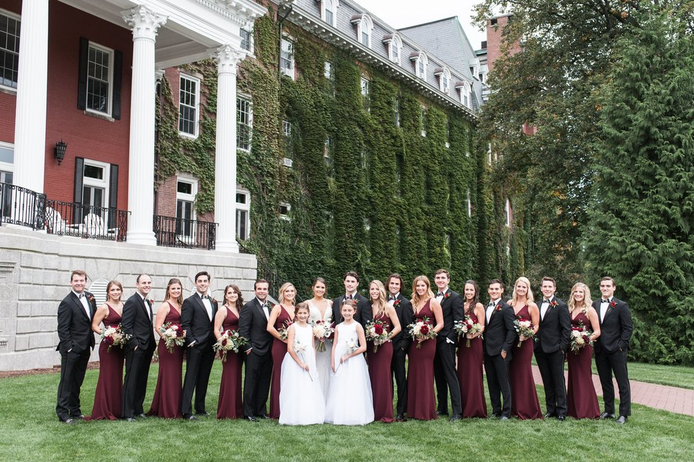 bridal party at the college of the holy cross wedding