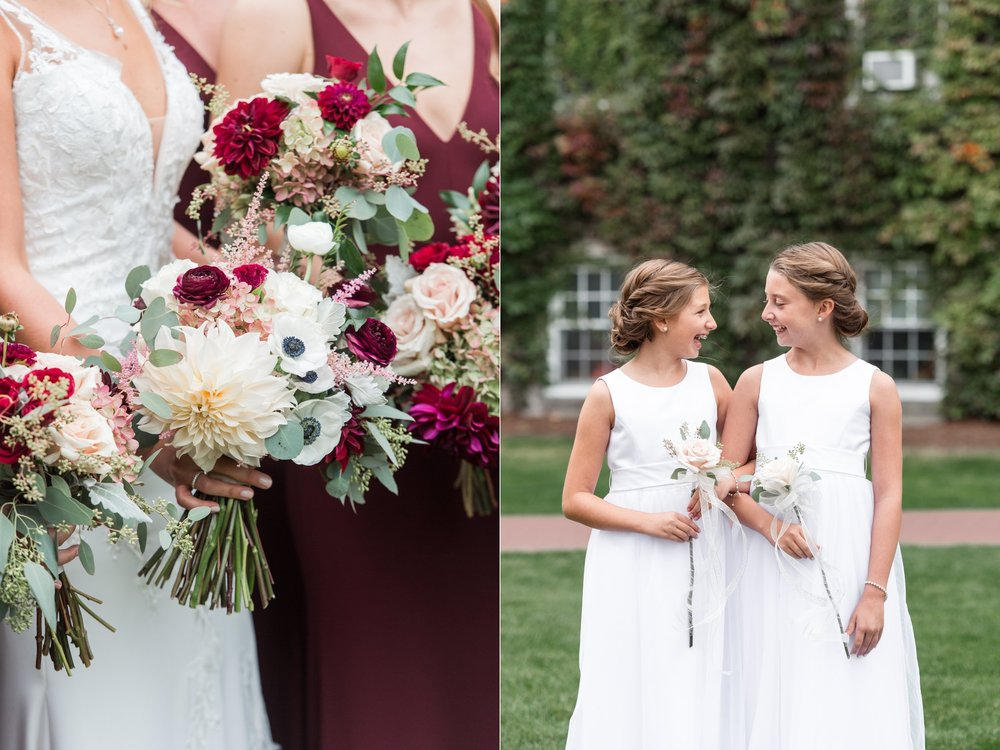 The Flowering Vine fall bouquet in cranberry and bridal portrait at Fenwick Hall for The College of the Holy Cross Wedding