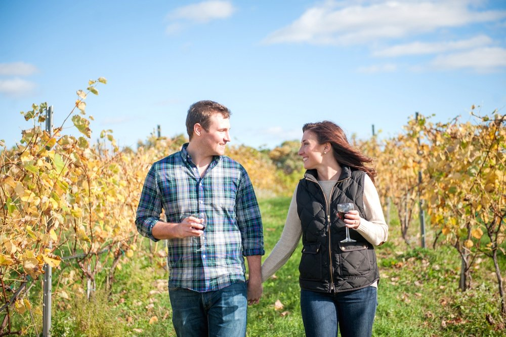 rural couple walking in field