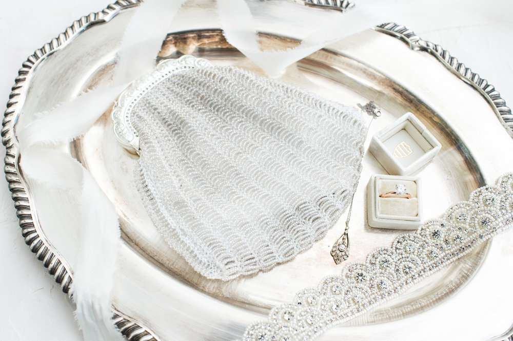 Wedding Planning Photographing Bridal Details Family Heirloom Necklace Mrs Box Handmade Beaded Purse Styled On Vintage Tray