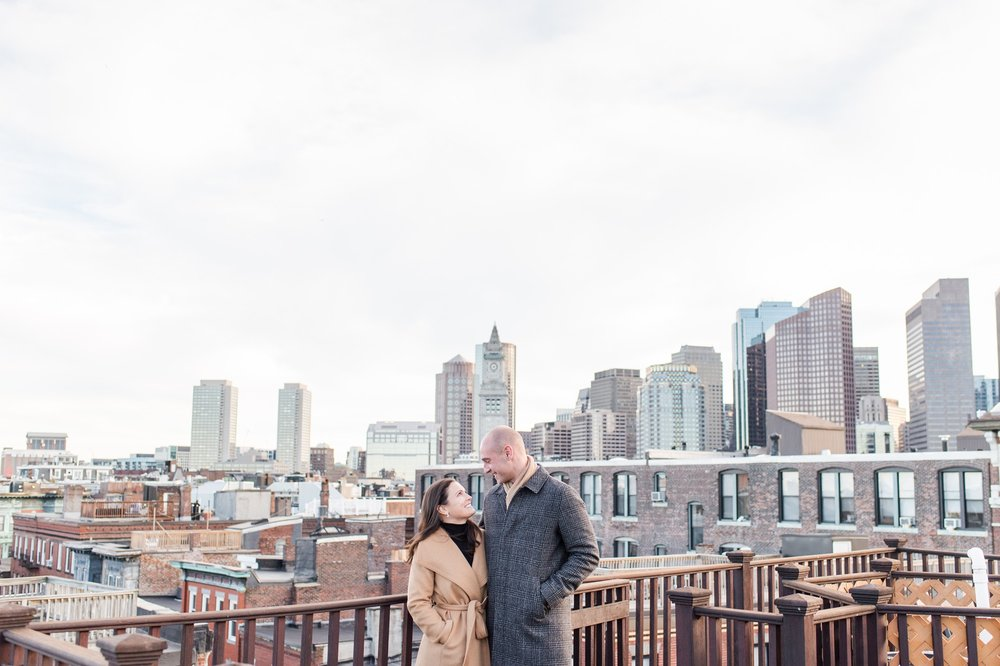 North End Boston Engagement Session Rooftop Views of Boston City Skyline