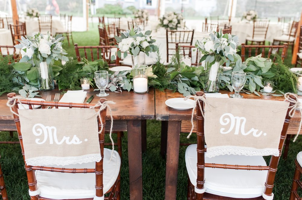 Wedding PLanning Head Table Tips For Photographing Toasts Mr and Mrs Burlap Signs On Chairs