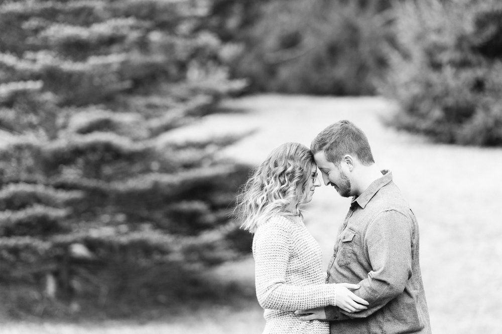 Arnold Arboretum Boston Winter Engagement Session black and white couples portrait
