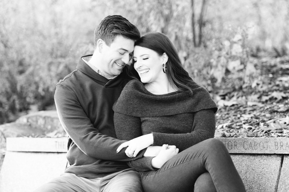 black and white arnold arboretum fall boston engagement session