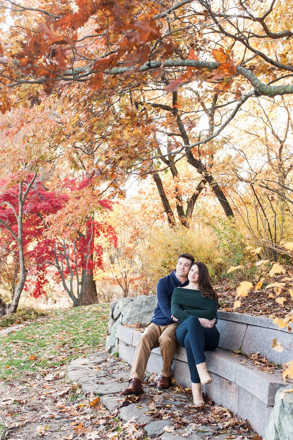 arnold arboretum rustic fall boston engagement session golden hour light fall leaves and chic engagement style