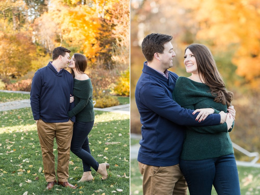 arnold arboretum fall boston engagement session golden hour light and chic engagement style