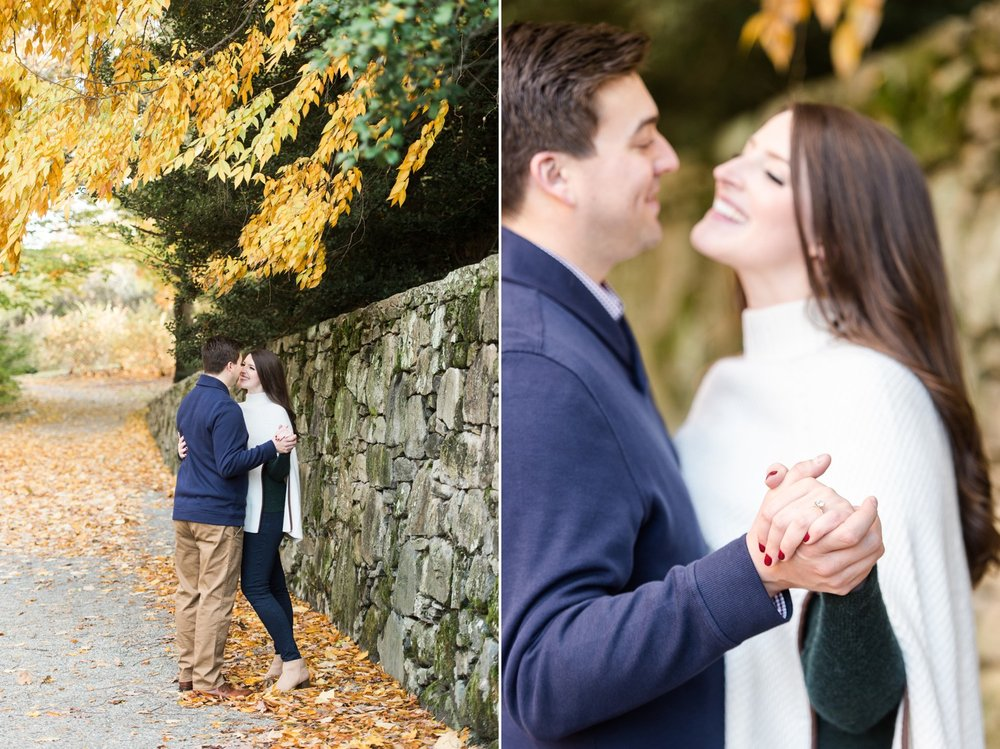 arnold arboretum fall boston engagement session golden hour light and classic engagement ring