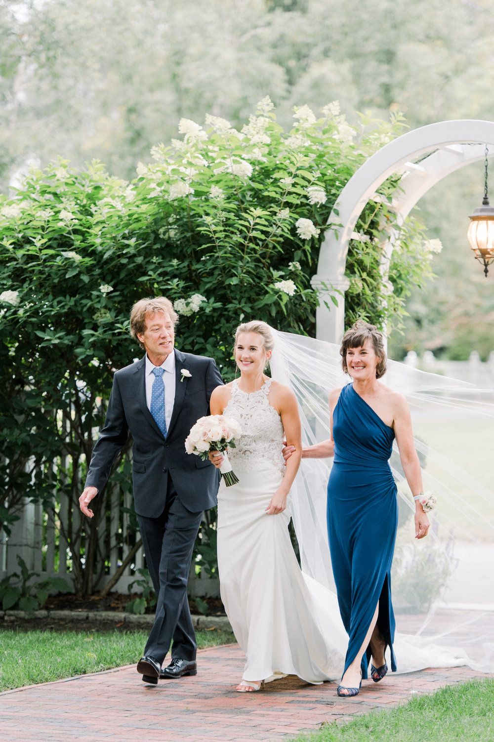 The Commons 1854 Topsfield MA wedding | Massachusetts wedding venue | Massachusetts wedding photography | bride and parents walking down the aisle | ceremony inspiration