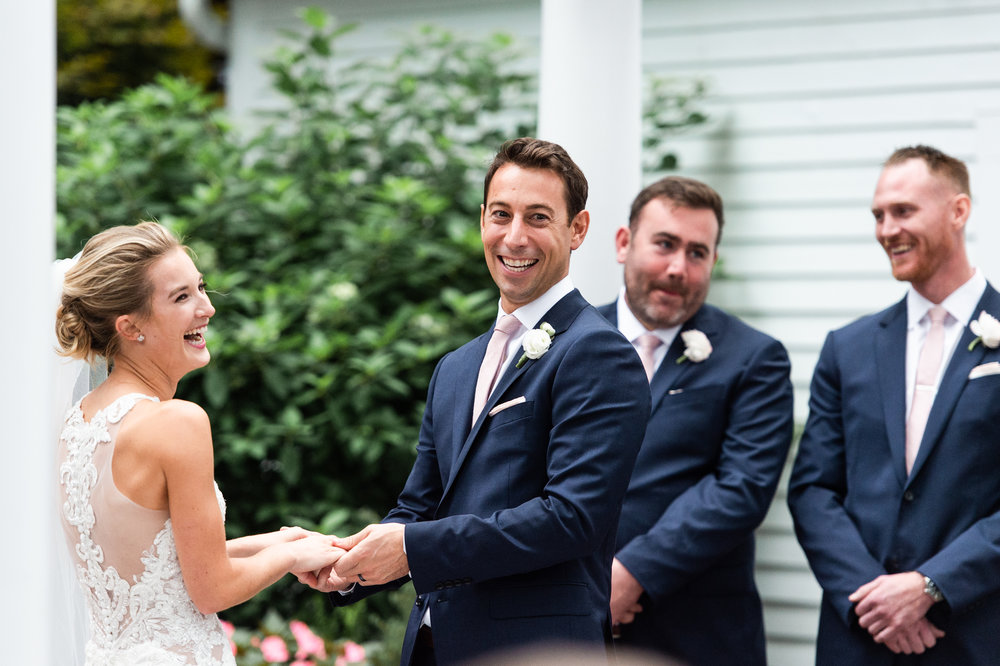 The Commons 1854 Topsfield MA wedding | Massachusetts wedding venue | Massachusetts wedding photography | First look | North Shore MA Wedding photos | outdoor ceremony | exchange of rings and vows