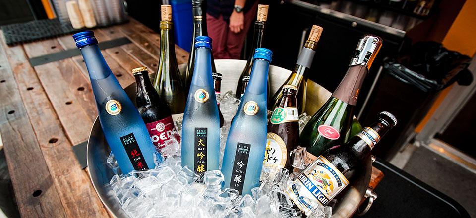 Bottles of Sake in Ice Bucket