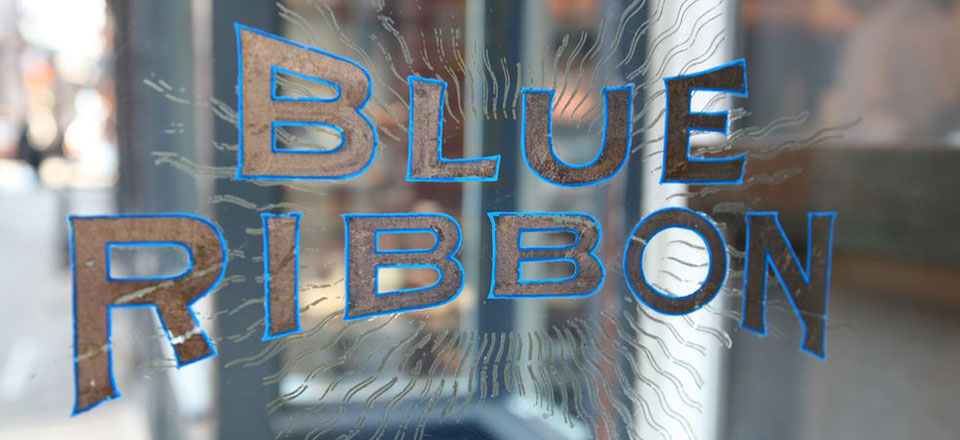 Blue Ribbon Logo Decal on Glass Door