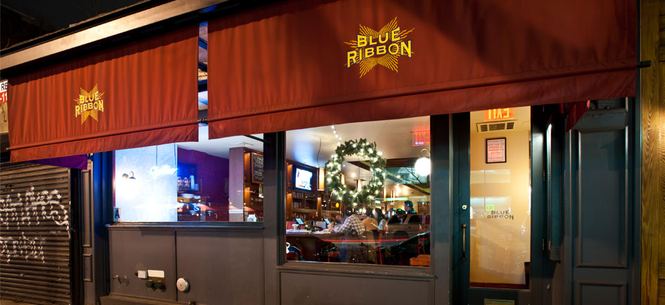 Blue Ribbon Brasserie Brooklyn Storefront at Night