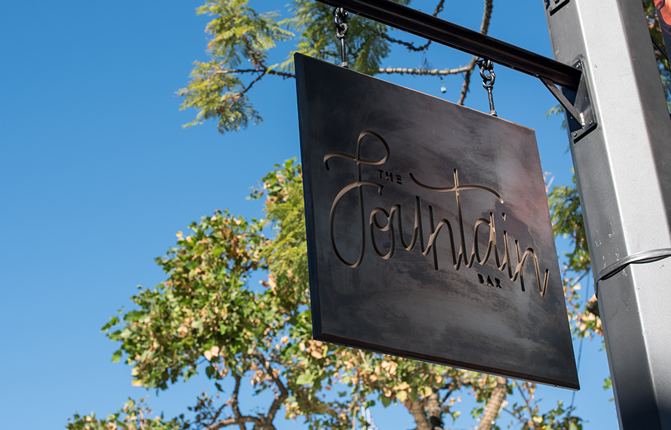 Fountain Bar Hanging Sign
